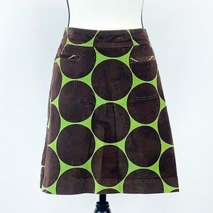 Boden Green Skirt with Brown Circles